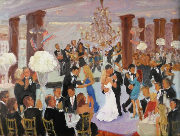 painting a wedding in Philadlephia/live event painting by Joan Zylkin The Event Painter