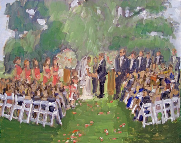 Brooklyn Botanic Wedding painted live by Joan Zylkin The Event Painter