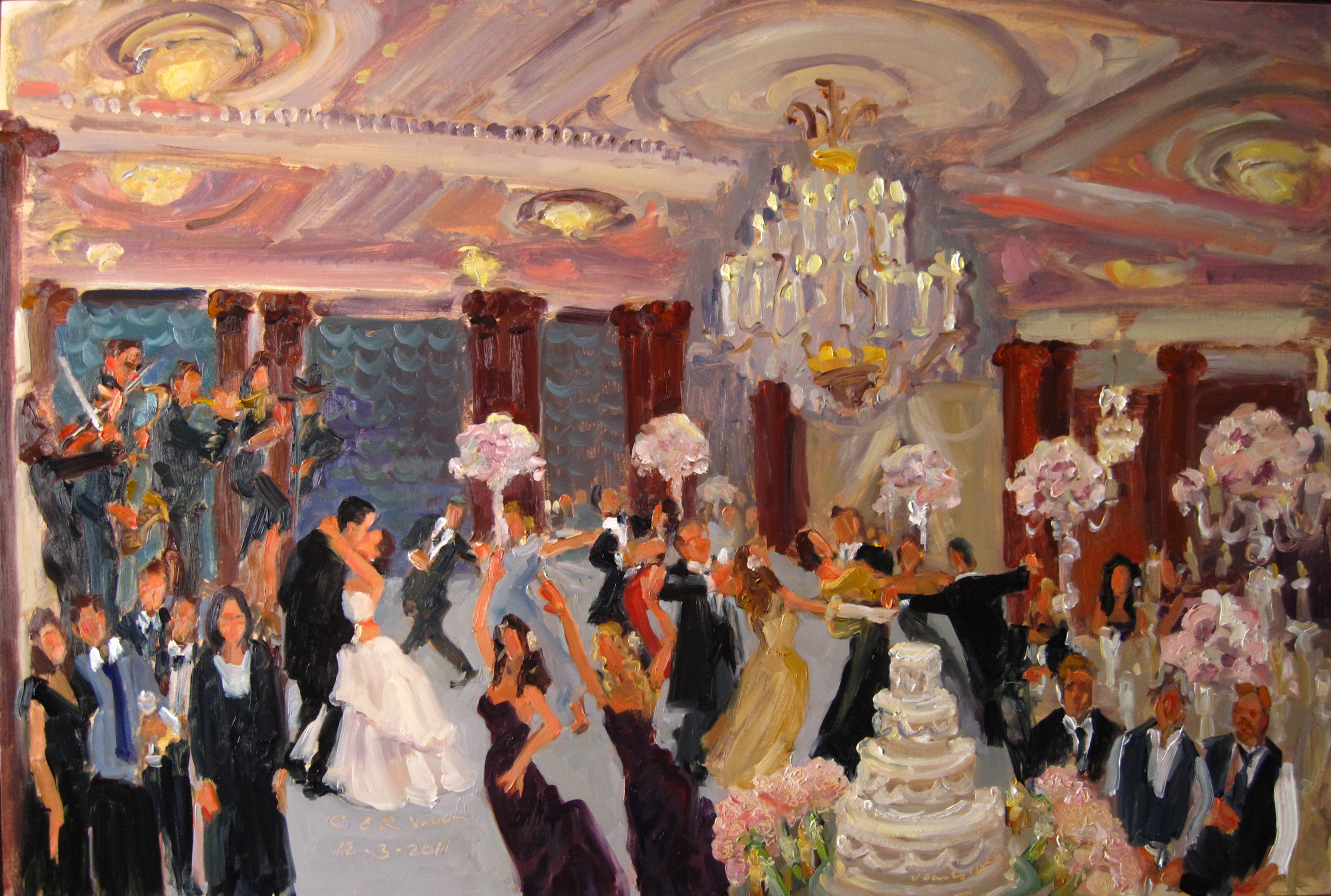 Wedding At Crystal Tea Room Painting By Live Event Artist Joan Zylkin