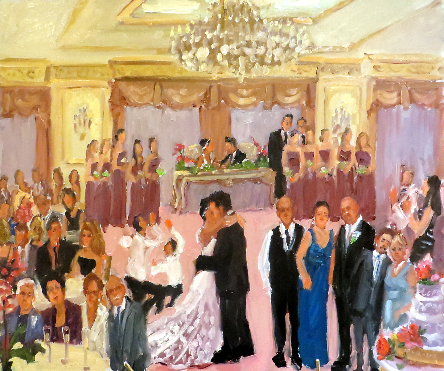 Live Event Artist Painting At An Italian Portuguese Wedding In Nj