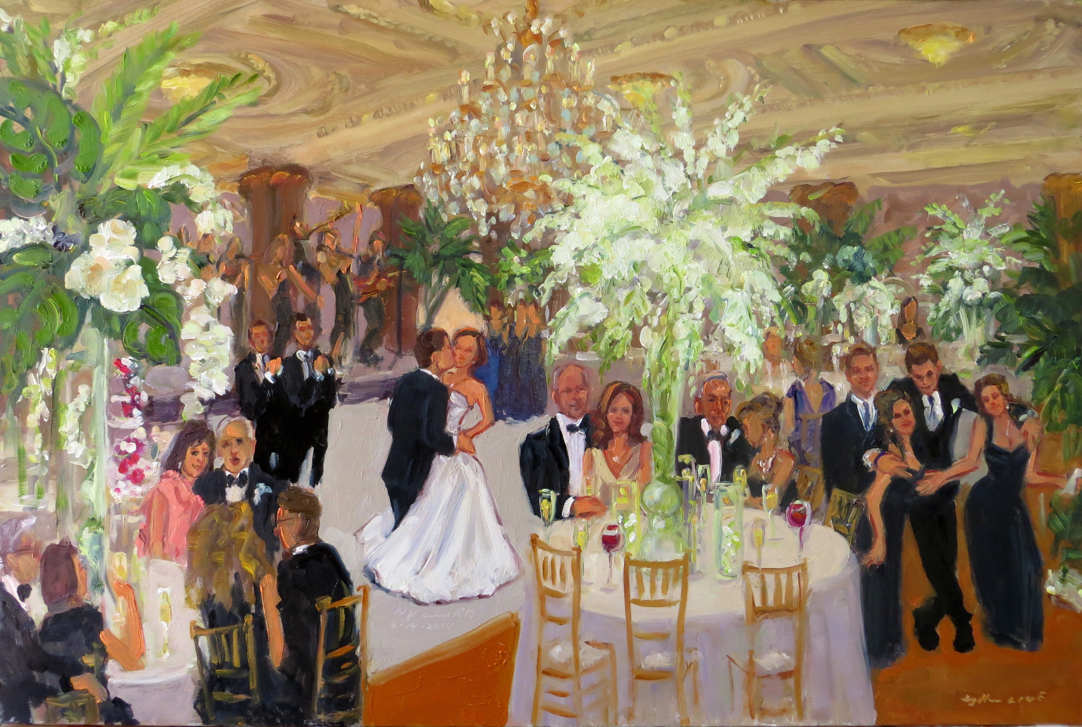 Painting Live At A Wedding In Philadelphia The Crystal Tea Room With Orchids And Elephant